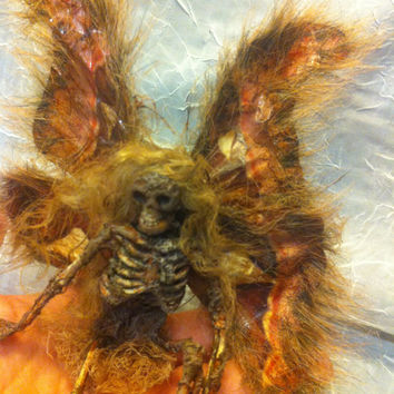 ooak realistic moth dead bug Fairy insect MADE TO ORDER wings Fantasy miniature doll art goth dollhouse sideshow gaff Hoax joke