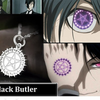 Black Butler Ciels Eye 925 Sterling Silver Pendant Necklace Cosplay Black Butler Necklace