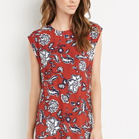 Tropical Floral Cap-Sleeved Dress