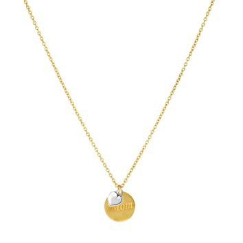 14k Yellow Gold MOM Round Disc Pendant Chain Necklace, 18""