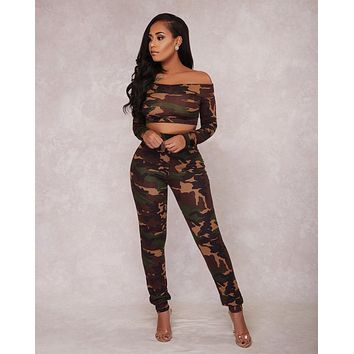 Women Casual Personality Camouflage Long Sleeve Round Neck Short Sweater High Waist Trousers Set Two-Piece Sportswear