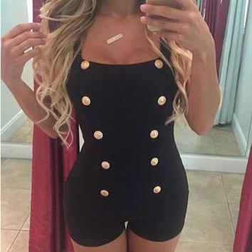 Front Button Jumpsuit Sleeveless Black Tank Short Playsuits Low Cut Sexy Club Bodycon Romper Black Bodysuit Sexy Club Shorts New