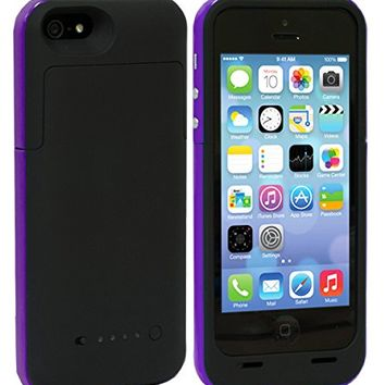 Shinefuture Slim External Rechargeable Backup Battery Charger Charging Case Cover for Iphone 5g 5s (2500mah Purple)