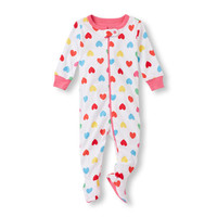 Baby and Toddler Girls Long Sleeve Heart Print Footed Stretchie