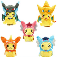 Pokemon Plush Toys Cosplay Pokemon Pikachu Mega Charizard Cotton Stuffed Animals Dolls Children Toys kids Christmas Gifts