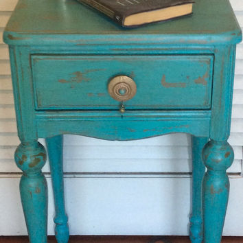 Shabby Chic Vintage Turquoise Nightstand