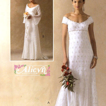 Brides Wedding dress Empire waist short or bell sleeves Evening wear party grad dress Alicyn sewing pattern McCalls 4714 Sz 14
