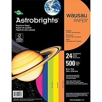"ASTROBRIGHTS Color Paper, 8 1\/2"" x 11\"", 24 lb., 5-Color \""Happy\"" Assortment, 500 sheets 