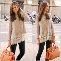 Grey Long Sleeve Lace Sweatshirt