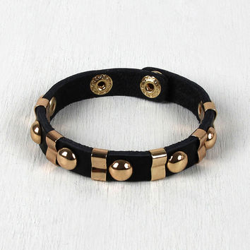 Studded Sections Vegan Leather Bracelet