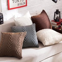 Decorative knitted zipper cushion/ throw-pillow cover