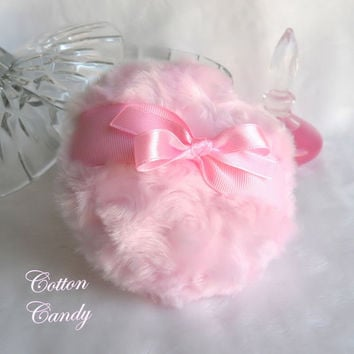 Body Powder Puff - cotton candy pink - bath pouf - handmade - gift boxed