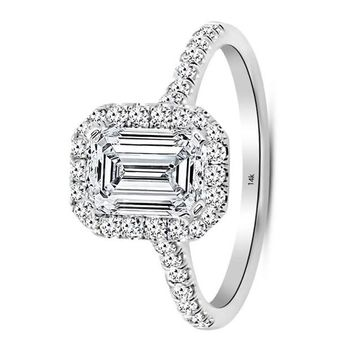 .2.75 Carat GIA Certified 14K White Gold Halo Emerald Cut Diamond Engagement Ring (2 Ct I-J Color VS1-VS2 Clarity Center)