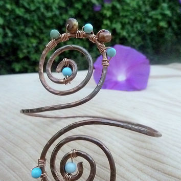 Turquoise & Copper Grecian Swirl Upper Arm Cuff, Arm Band,  Armlet