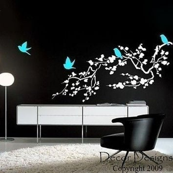 Large Birds Around the Cherry Blossom Branch Wall Decal Sticker.