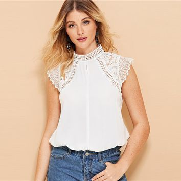 Hollowed Out Contrast Lace Blouse Women Elegant Lace Stand Collar Blouses Casual Solid Cap Sleeve Top