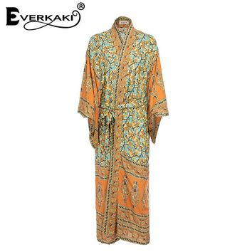 Everkaki Boho Print Kimono Coats Jackets Women With Sashes Bohemian Loose Cotton Green Coat Kimono Jackets Female 2018 Summer