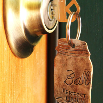 Mason Jar Keychain - Hand Tooled Leather
