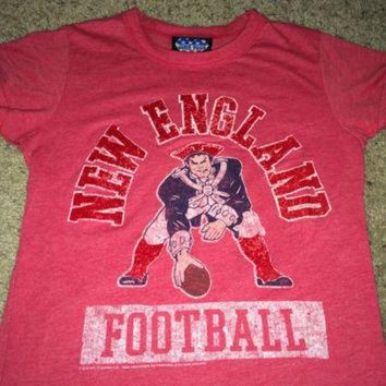 VLX9RV Sale!! Vintage NEW ENGLAND Football Shirt NFL jersey Junk Food tee