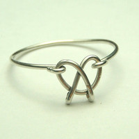 Pretzel cute wire ring sterling silver 925 handmade by keoops8