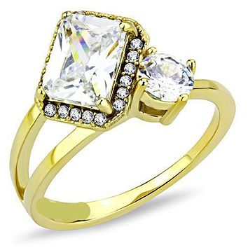14K Yellow Gold 2CT Emerald Cut Halo Russian Lab Diamond Ring