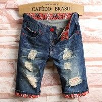 Men Summer Ripped Holes Denim Shorts Pants Slim Jeans [10605325187]
