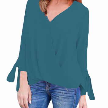 Green Womens V Neck Ruched Tie Sleeve Top