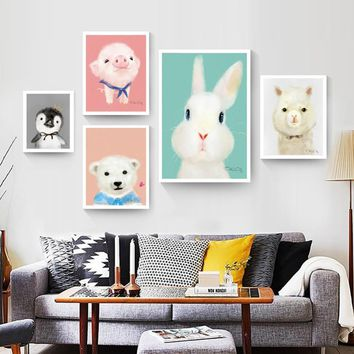 Modern Fresh Watercolor Art Print Poster Cartoon Animal Decorative Painting Children Kid's Room Wall Painting No Frame 3 Size