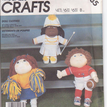 "Cabbage Patch doll clothes pattern for 16"" and 18"" soft sculpture dolls drum majorette, cheerleader, football player McCalls 2135 UNCUT"
