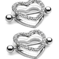 Nipple Ring Bars Rhinestone Heart Circle of Love Body Jewelry Pair 14 Gauge Sold As Pair