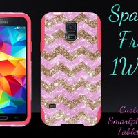 OtterBox Commuter Series Case for Galaxy S5 - Custom Glitter Case for Galaxy S5 - Gold Small Chevron Light Pink/Pink