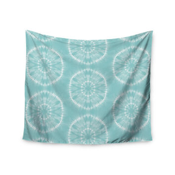 "Jacqueline Milton ""Shibori Circles - Aqua"" Teal Pastel Mixed Media Wall Tapestry"