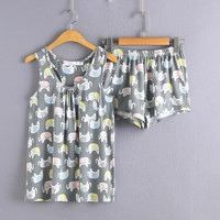 Women Cute Elephant Print Pajama Sets for Women Cotton Print Pyjamas Sleepwears Tops+Shorts Homewears S M L