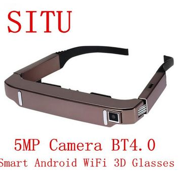 Wide Screen Portable Video  Android Smart Android WiFi Glasses 80""