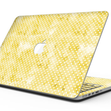 White Polka Dots over Yellow Watercolor V2 - MacBook Pro with Retina Display Full-Coverage Skin Kit
