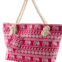 Summer Tote Bag Canvas Bag Aztec Elephant Beach Bag Trending Items - By PiYOYO