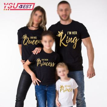 Cool 2018 Mother Daughter Family Matching Outfits Matching Father Mother Daughter Son Clothes Cotton T-shirt King Queen Family LookAT_93_12