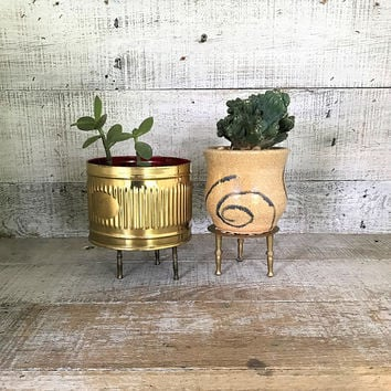 Plant Stands 2 Brass Trivets Small Brass Plant Stands Brass Plant Holder Brass Stand Brass Kitchen Decor Farmhouse Chic