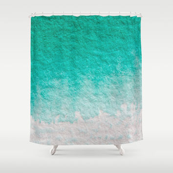 Pretty ombre turquoise aqua blue green pastel ikat watercolor hipster soft art print. Shower Curtain by iGalaxy