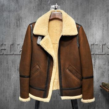Men's Shearling Leather Jacket  Dark Brown B3 Jacket Original Flying Jacket Men's Fur Coat Aviation Leathercraft Pilots Coat WZ