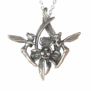 Vintage Sterling Pixie Fairy Pendant Necklace