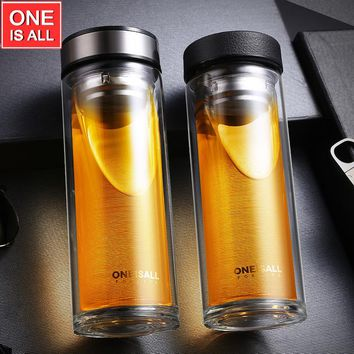 500ML Double Wall Glass Water Tea Cup Juice Coffe Tumbler Bottles Stainless Steel Tea Infuser Water Mugs Coffee Cups Portable