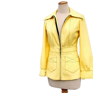 NWT Unworn Vintage Jacket 1970s Yellow Black Ring Pull Metal Zipper Size Small Lightweight Jacket New NOS
