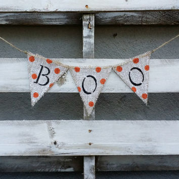 BOO Burlap Banner with Glitter, Halloween Banner, Halloween Decor, Halloween Photo Prop