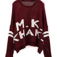 Burgundy Letter Pattern Loose Sweater