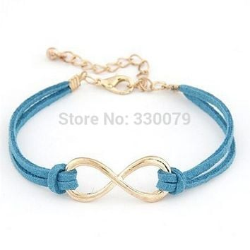 SL103 Cheap WholFashion Infinity Leather Bracelet Eight Cross Bangle For Girl Wedding Jewelry Accessories