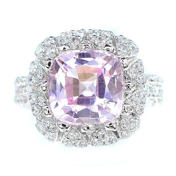A Vintage 14K White Gold 7CT Cushion Cut Pink Kunzite Halo Anniversary Ring