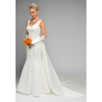 Juliet 345 V-Neck Wedding Gown Corset Back with Panel Train Ivory