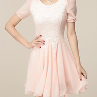Lace-Paneled Ruffled Chiffon Dress