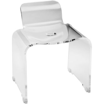 CP Shower Bench Stool Chair Bathroom Shower Seat With Back Support, Acrylic